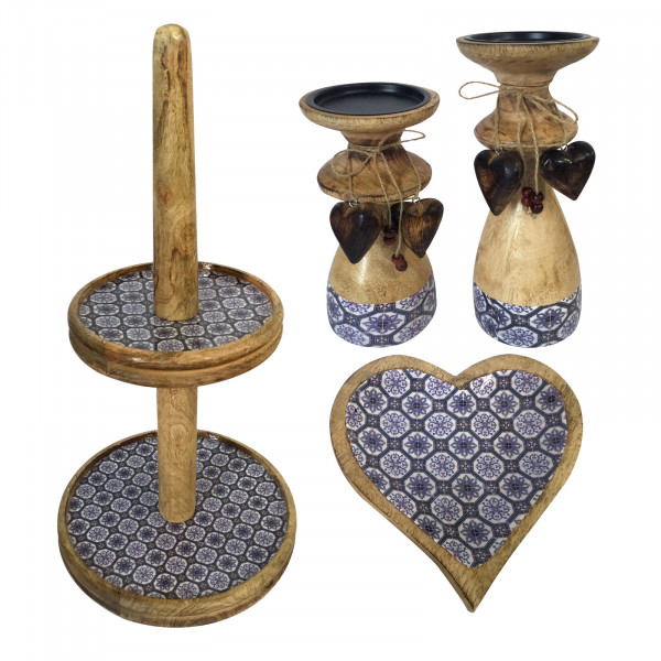 Etagere Set 4-teilig mit 1 Knabber Teller Herz und 2 Kerzenständern Mangoholz mit Keramikdekor