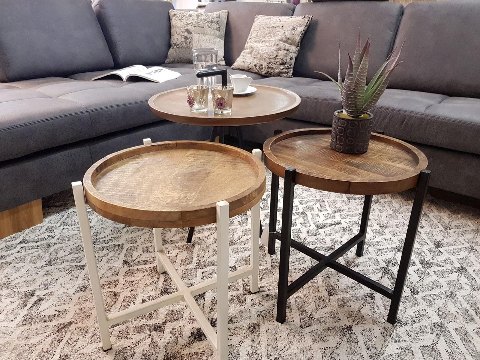 Beistelltisch Wohnzimmer-Tisch Rund Omaha, Metall-Gestell