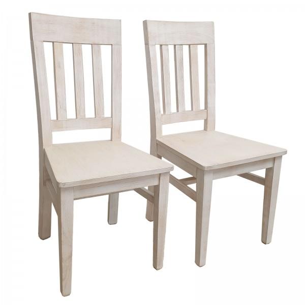 Esszimmer Stühle 2er Set mit Holzsitzfläche Massivholz Duett Pinie massiv