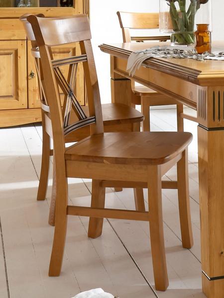 Esszimmer Stuhl Florenz mit Massivholz-Sitzfläche mit/ohne Sitzkissen
