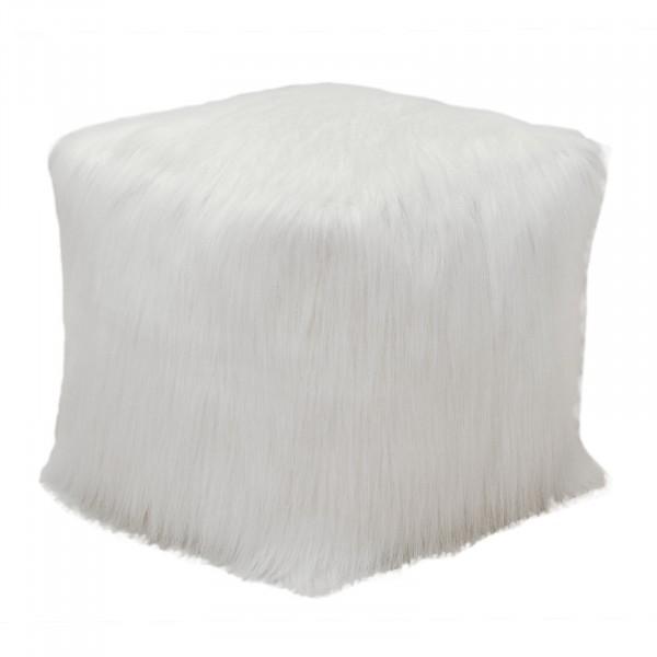 Sitzhocker Polster-Hocker Bodenkissen Kunstfell 45 x 45 x 45 cm weiß oder schwarz