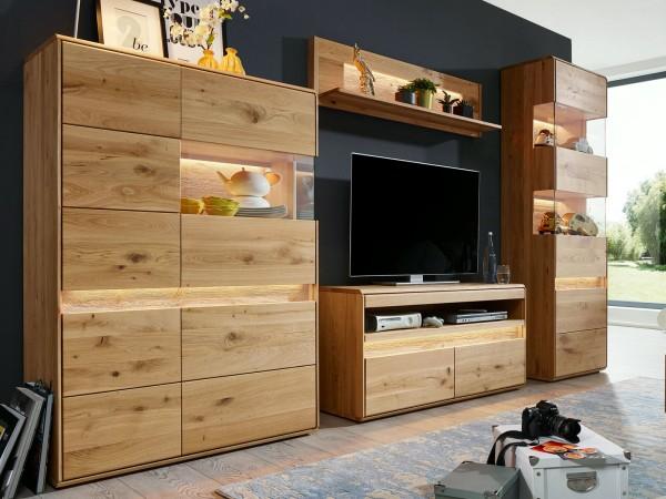 Wohnwand Massivholz Highboard Fernsehschrank Vitrine hoch 2türig ca. 310x210 cm Bergeiche Wildeiche