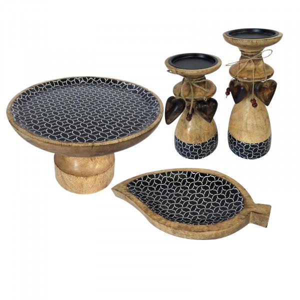 Tortenplatten Set mit Fuß und 1 Knabberteller Blatt und 2 Kerzenständern Mangoholz mit Keramikdekor
