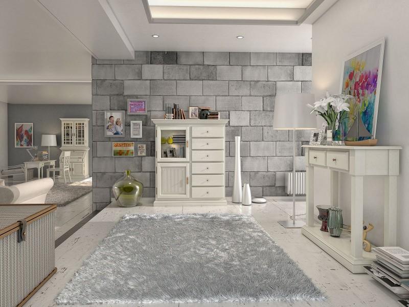 Wohnzimmer aus Massivholz in mediterranem Weiß von Casamia ...