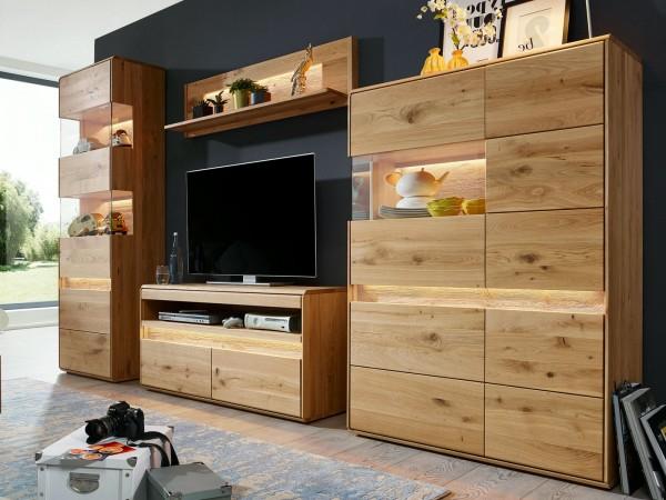 Wohnwand Massivholz Vitrine hoch 2türig Lowboard Highboard ca. 310x210 cm Bergeiche Wildeiche