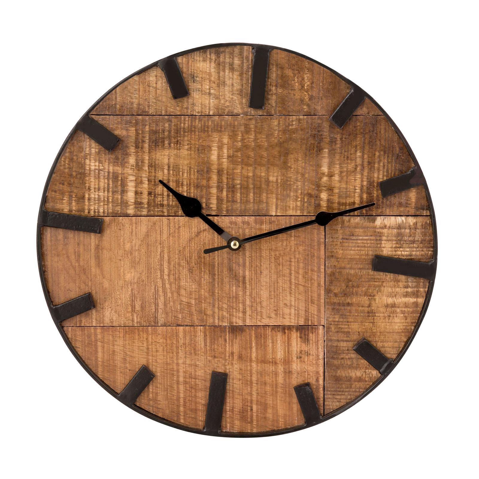 Wanduhr Wohnzimmeruhr Aus Holz Rund Vintage Lautlos O 30 Cm Quadratisch Aus Mangoholz Massiv Casamia Wohnen