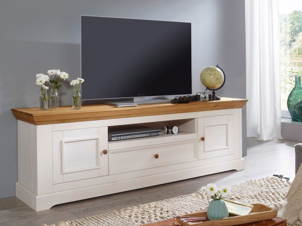 TV Lowboard Fernsehschrank 2 Holztüren 1 Schublade 1 offenes Fach Milan Pinie Nordica weiß