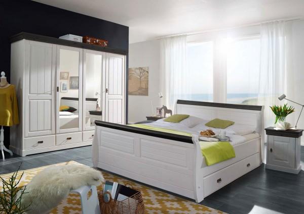 Schlafzimmer Set Napoli 4-türiger Kleiderschrank Bett 180x200 u. 2 Nachtkonsolen Pinie Nordica weiss