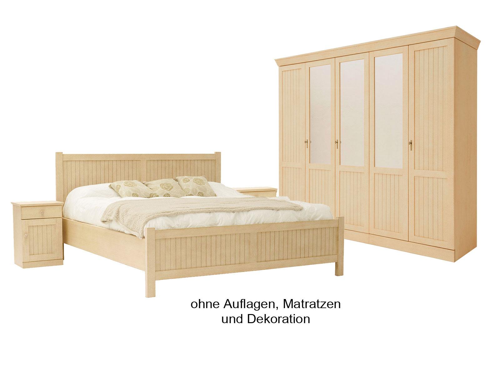 Schlafzimmer casabella mit kleiderschrank doppelbett 2 nachtkonsolen pinie massiv casamia - Schlafzimmer pinie massiv ...