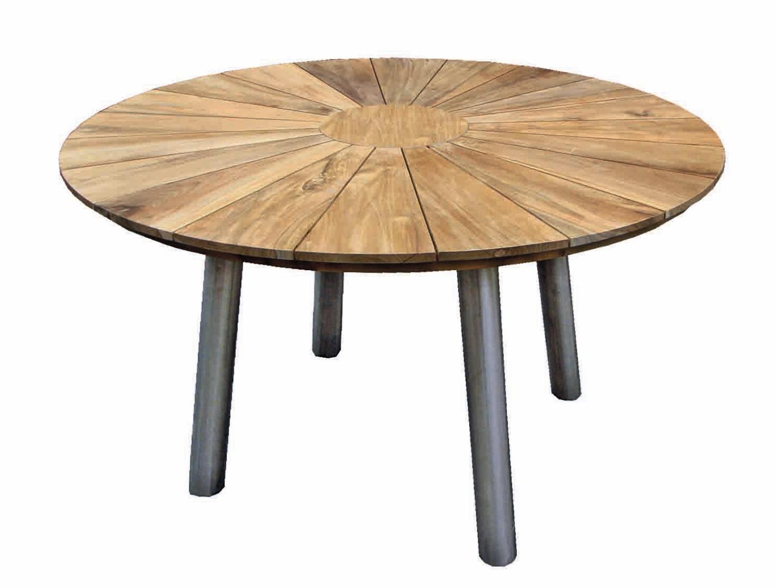 garten tisch fjord rund aus teakholz mit edelstahl gestell casamia wohnen. Black Bedroom Furniture Sets. Home Design Ideas