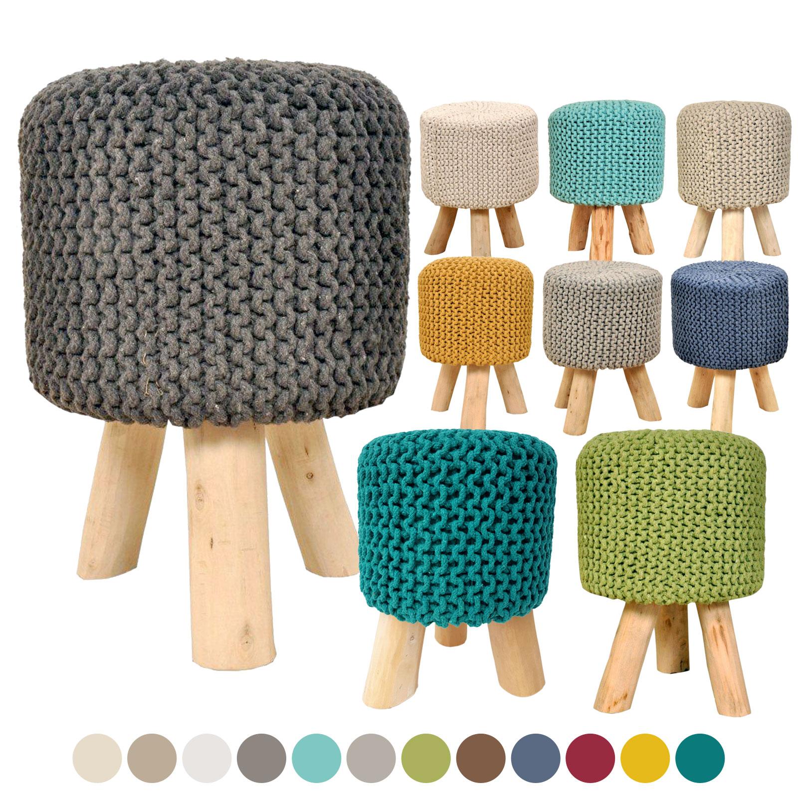 Sitzhocker Strick Hocker Pouf Schemel Ø 35 cm Höhe 45 cm mit Holzfüßen viele Farben