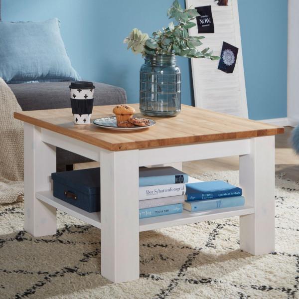 Couchtisch Beistelltisch Wohnzimmer Tisch Bari quadratisch 70 x 70 cm Pinie Nordica weiß