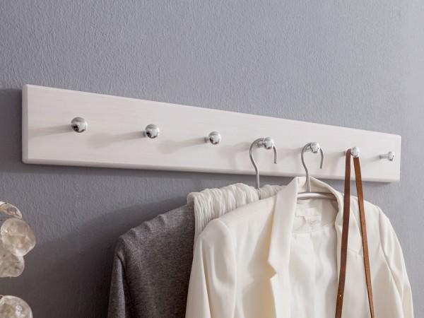 Garderobenleiste Kleiderhaken Garderobenhaken Holz Milan 70 cm breit Pinie Nordica weiß gewachst