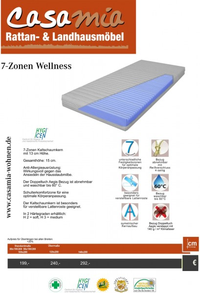 Matratze 7-Zonen Wellness Länge 200 cm