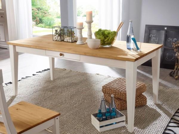 Esstisch Küchen-Tisch Milan 180 x 90 cm, Pinie Nordica weiß gewachst