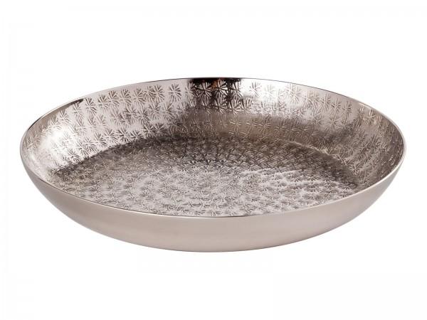 Deko Tablett ø 28 cm Serviertablett Metall Kerzentablett rund silber o. gold Aluminium gehämmert