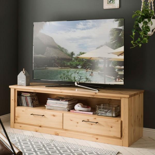 TV Lowboard Fernsehschrank Verona 2 Schubkästen, 1 offenes Fach, Pinie Nordica lackiert