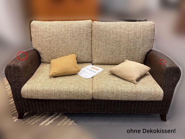 Rattancouch Rattan Sofa 2-Sitzer-Sofa Roma Ausstellungsstück mit Beschädigungen Farbe Coco