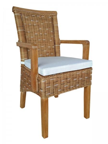 Esszimmer-Stuhl mit Armlehnen Rattanstuhl braun Perth mit/ohne Sitzkissen Leinen weiß