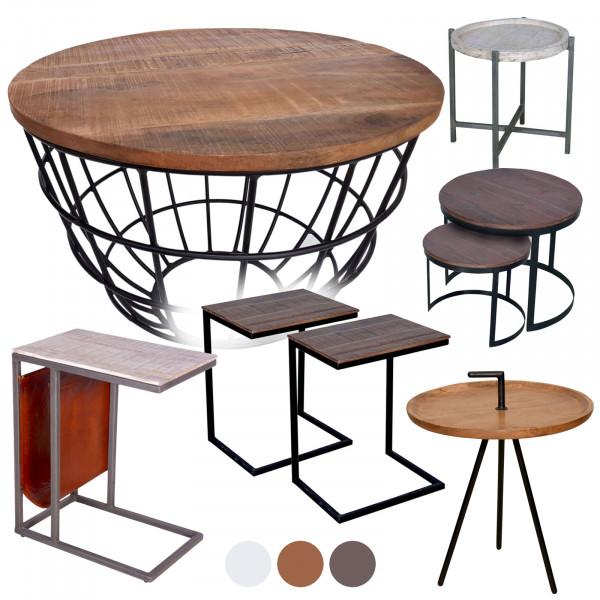 Couchtisch Beistelltisch Massivholz Wohnzimmer-Tisch Metallgestell rund oder eckig viele Modelle