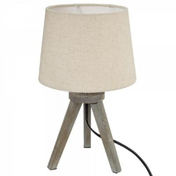 Nachttischlampe Dekolampe ø 20 x H 35 cm Tischleuchte Deko Leuchte Schirm Leinen beige