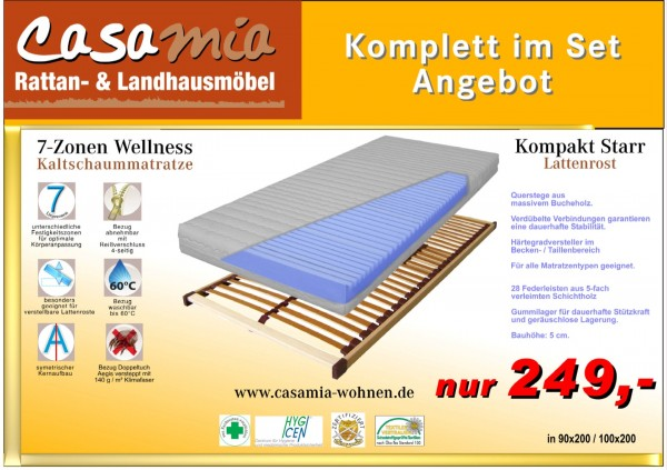 Set1 Lattenrost mit Matratze Wellness