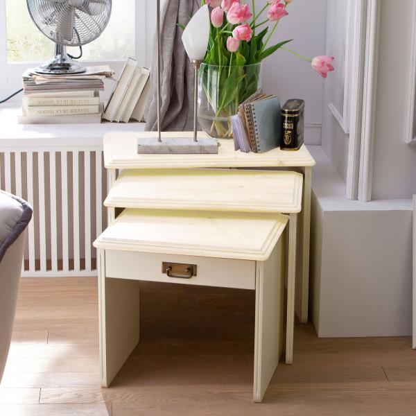 3-Satz-Tisch-Set Padua 3 Tische in verschiedenen Größen Pinie Nordica massiv