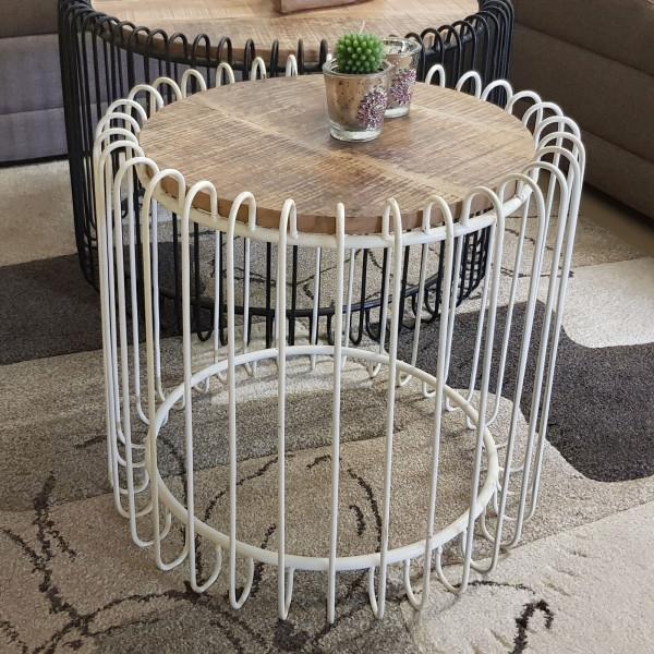 Couchtisch rund ø 50 cm Wohnzimmer Tisch Beistelltisch York Metall-Gestell schwarz matt o. reinweiss