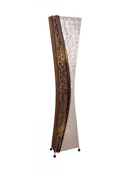 """Stehlampe """"Wayan"""" eckige taillierte Form mit Bambusringen, Höhe 150 cm"""