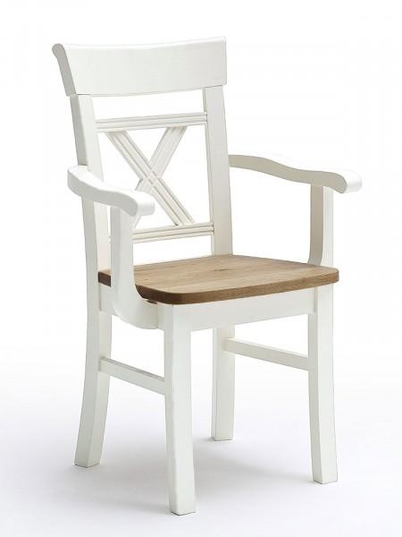Esszimmer-Stuhl mit Armlehnen Novara Kreuzrücken und Holzsitz Pinie Nordica weiß Wildeiche natur