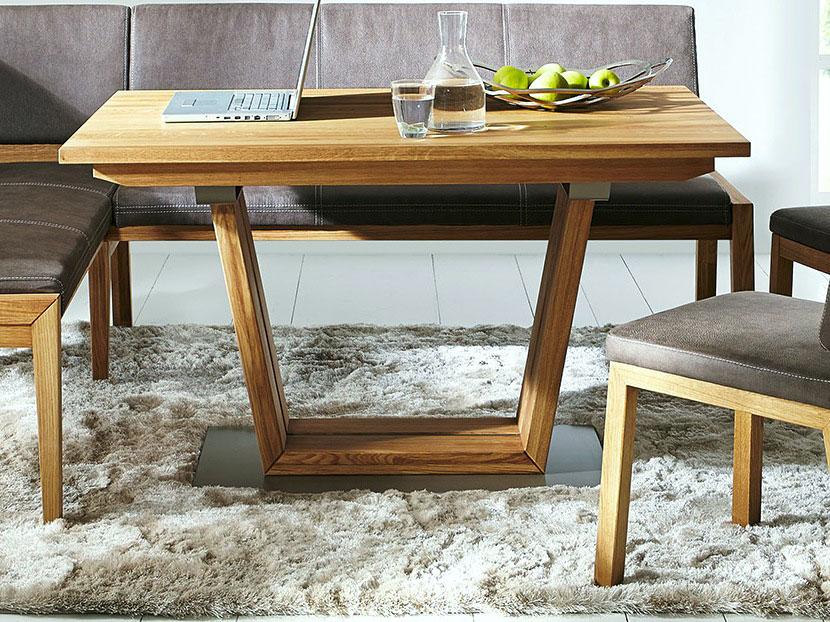 s ulentisch esstisch aspen 140 x 90 cm aus wildeiche massiv ge lt casamia wohnen. Black Bedroom Furniture Sets. Home Design Ideas
