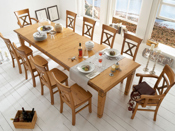 Sitzgruppe Florenz 1 Esstisch 180 cm ausziehbar 8 Stühle ohne und 2 Stühle mit Armlehne Pinie Nordic