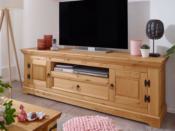Fernsehschrank TV Lowboard Torino 2 Holztüren 1 Schublade 1 Fach Pinie Nordica eichefarbig gebeizt