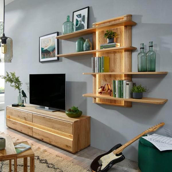 TV Lowboard Set mit Wandregal Massivholz TV Schrank ca. 250x190 cm Bergeiche Wildeiche massiv