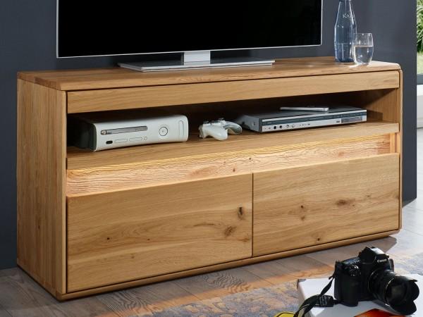 TV Schrank Massivholz Fernsehschrank TV Lowboard B 123 H 63 cm Bergeiche Wildeiche massiv