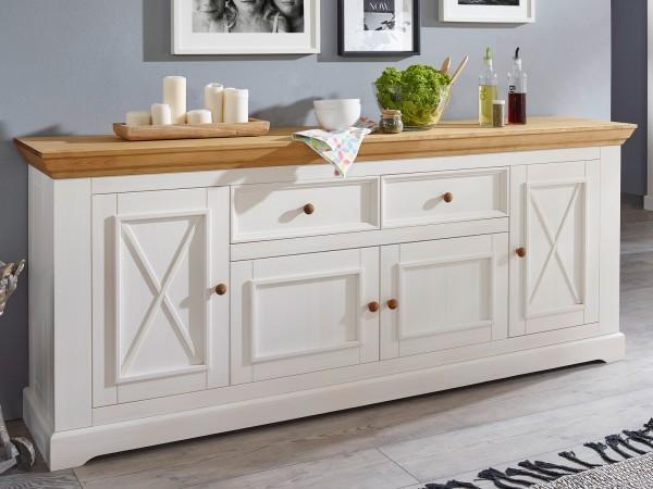 Sideboard weiß Massivholz Anrichte Milan 4 Holztüren und 2 Schubladen Pinie Nordica weiß gewachst