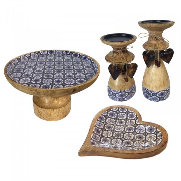 Tortenplatten Set mit Fuß und 1 Knabberteller Herz und 2 Kerzenständern Mangoholz mit Keramikdekor