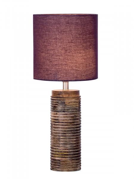 Tischlampe Tischleuchte ø 20 x H 45 cm Nachttischlampe Dekolampe mit Holzsockel gedrechselt