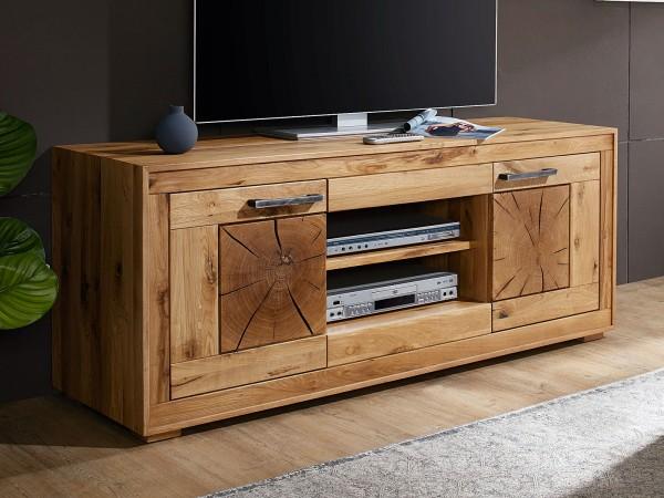 TV Schrank TV Lowboard Massivholz B 150 H 62 T 46 cm Waldeiche Fernsehschrank Wildeiche massiv