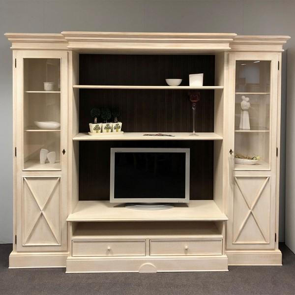 Wohnwand Wohnzimmer-Schrank 256 cm breit Massivholz Ausstellungsstück Allegro Pinie massiv