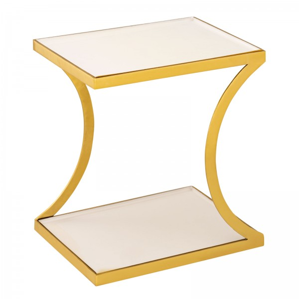 Beistelltisch Dekotisch eckig 40 H 45 cm Lampentisch Sofatisch Eden Tisch Metall gold und Emaille