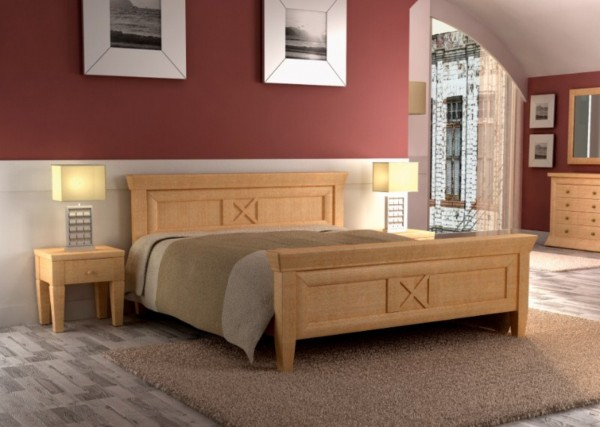 Bett Doppelbett Quadro 140/160/180/200 x 200 cm, Pinie massiv