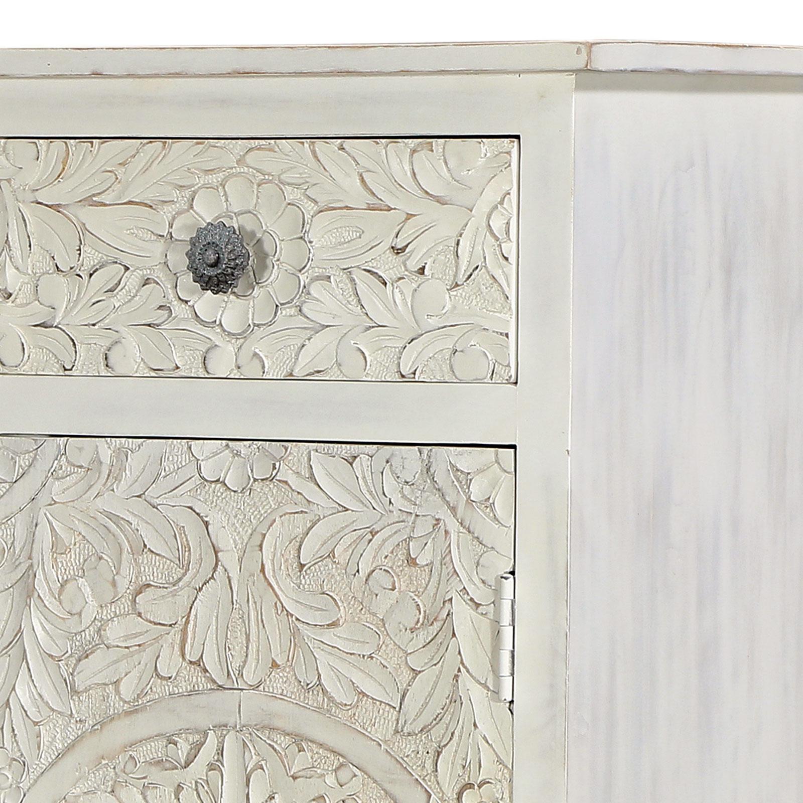 Sideboard Anrichte weiß Mangoholz Shabby Chic Vintage massiv 80x90x40 cm  handgeschnitzt gekälkt