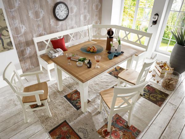 Sitzgruppe Novara Esstisch + Eckbank + 2 Stühle + 1 Armlehner Pinie Nordica weiß Wildeiche massiv