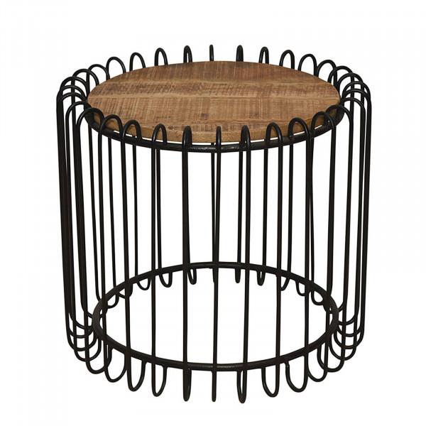 Couchtisch rund 2. Wahl ø 50 cm Wohnzimmer Tisch Beistelltisch York Metall-Gestell schwarz matt