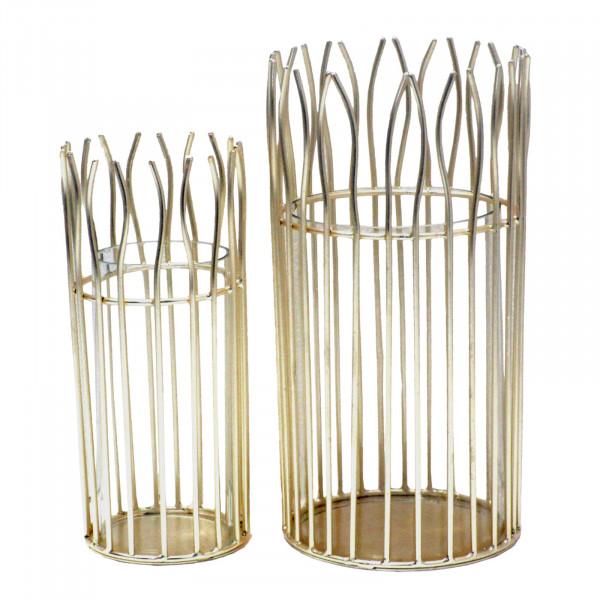 Windlicht Set romantisch 2-teilig mit Glaseinsatz rund in edler Drahtstruktur schwarz od. gold