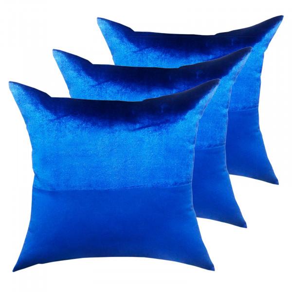 Zierkissen Set 3 Stück Deko Kissen Sofa Kissen Velour Samt 45 x 45 cm Doppellagen-Optik royalblau