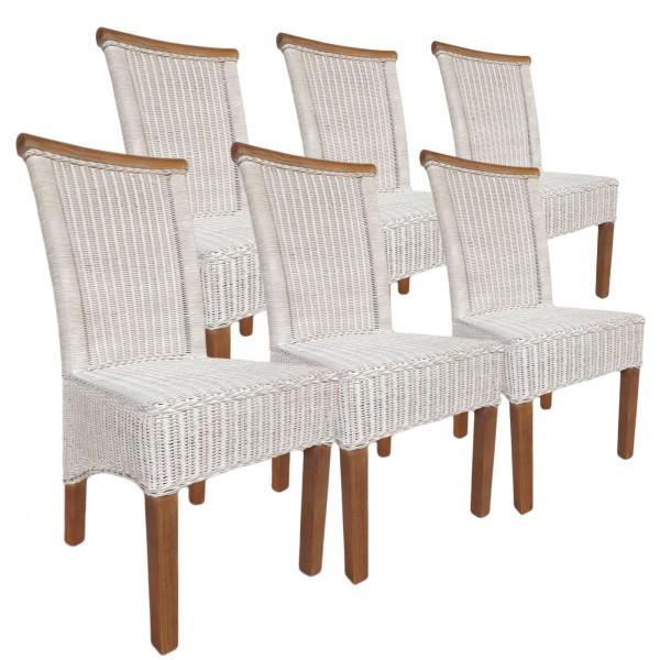Esszimmer-Stühle Set Rattanstühle Perth 6 Stück weiß Sitzkissen Leinen weiß