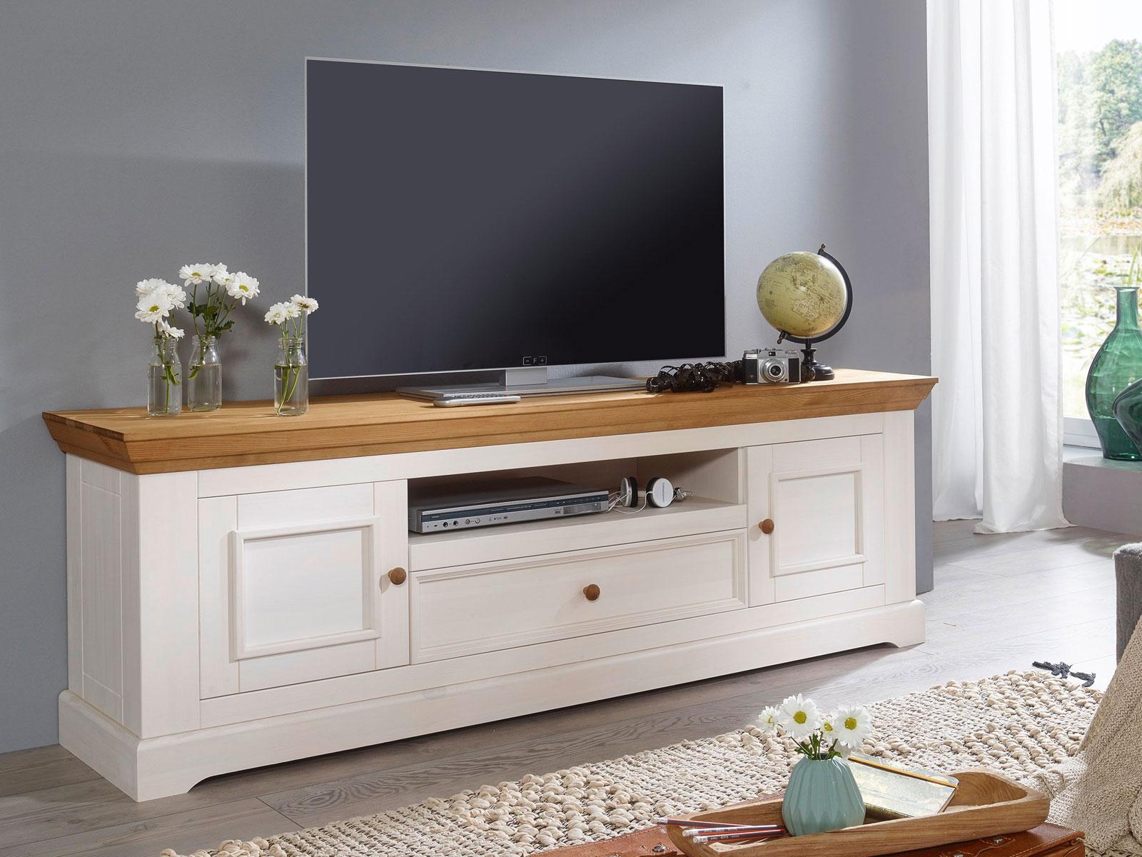 TV Lowboard Fernsehschrank 1000 Holztüren 100 Schublade 100 offenes Fach Milan  Pinie Nordica weiß