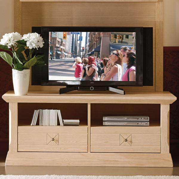 TV Lowboard TV Schrank Vienna mit 2 Schubladen und 2 offenen Fächern, Pinie massiv